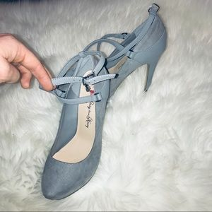 Grey platform strappy heels